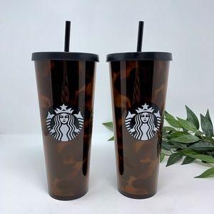 TWO Starbucks 2019 Fall Tortoise Tumblers NEW
